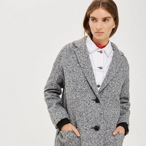 Topshop Grey Textured Cocoon Coat